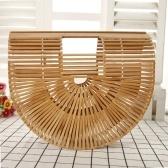 Bolsa de mano manual hecha a mano de la playa de la buena calidad bolso de bambú de la media luna que teje la mano manual
