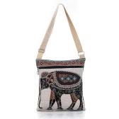 Rétro Femmes Toile Sac bandoulière brodé Elephant Print épaule Zipper Shopping Voyage Sac