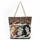 Sacchetto sveglio della borsa della borsa della spalla della tela di canapa delle ragazze delle donne sacchetto di acquisto casuale di grande capienza del ricamo del gatto Totes