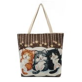 Women Girls Canvas Shoulder Bag Handbag Cute Cat Embroidery Large Capacity Casual Shopping Bag Totes