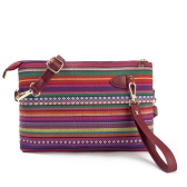 New Vintage Women Canvas Clutch Bag PU Splice Striped Print Wrist Strap Street Shoulder Handbag