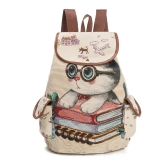 Women Canvas Backpack Cartoon Cat Pattern School Bag Pockets Casual Vintage Bag Travel Ruchsack