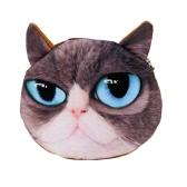 Cute Moda Kobiety Monety Zeszyt 3D Cat Zwierzę Szef Wydrukować Tail Mini Portfel Zipper Closure Małe Sprzęgło Bag