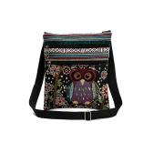 Las mujeres mini del bolso de Crossbody del búho bordado Jacquard cremallera correa ajustable Luz del recorrido del hombro del mensajero bolso al aire libre