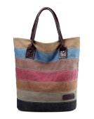 Sacchetto di spalla a strisce di colore della borsa della tela di canapa degli uomini delle donne dell'annata sacchetto di spalla unisex casuale di grande capacità