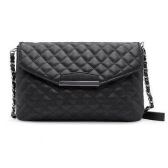Vintage Women Quilted Shoulder Bag PU Leather Flap Front Crossbody Envelope Bag Clutch White/Black