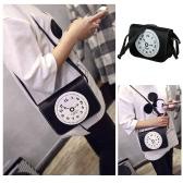 Nueva moda mujeres PU bandolera reloj cremallera impresión Casual Vintage pequeño Messenger bolsos de hombro