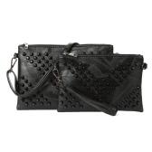 Kobiety Nit Clutch Bag PU Leather Zipper odpinany pasek Casual Torebka Crossbody Torba na ramię czarny