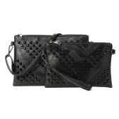 Frauen Rivet Handtasche PU-Leder Reißverschluss abnehmbarer Trageriemen beiläufiger Geldbeutel Umhängetasche Schultertasche Schwarz