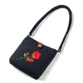 Sacchetto di spalla etnico etnico del sacchetto del messaggero della Rosa del sacchetto del Crossbody della tela di canapa del fiore ricamato delle donne dell'annata