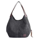 Moda Mulheres Vintage Canvas Handbags Bolsas de ombro Grande capacidade Multi-Pockets Casual Ladies Totes