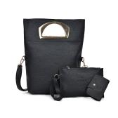Las mujeres de tres piezas del bolso del conjunto de cuero de la PU bolso de hombro del embrague bolsa de la tarjeta del bolso de la cremallera del bolso ocasional Crossbody