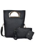 Women Three Piece Handbag Set PU Leather Shoulder Bag Clutch Bag Card Bag Zipper Casual Crossbody Bag