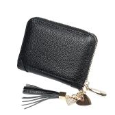Caso di carta di credito della borsa della moneta della moneta del pendente del nappa del pendente del nappa del portafoglio del cuoio genuino delle donne mini