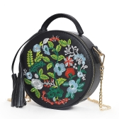 Moda damska Haftowana torba PU Crossbody Frędzle Gałka dekoracyjna Ramię Chain Bag Black / Red / White