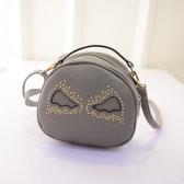 Moda mulheres bolsa de ombro PU couro bonitos asas rebite forma redonda Mini Messenger Bag Handbag
