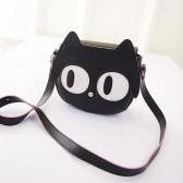 Mode Damen Umhängetasche PU Leder nette Katze großen Augen Mini Messenger Bag Handtasche