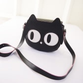 Moda mujer bandolera cuero lindo gato ojos grandes Mini Messenger bolsa bolso de la PU