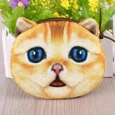 Moda carino donne Coin Purse gatto animale stampa Mini portafoglio cerniera chiusura piccola pochette