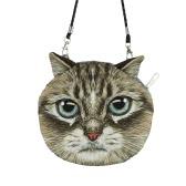 New Cute Women Shoulder Bag Cat Face Cartoon Print Zipper Closure Messenger Clutch Coin Purse Bag