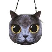Neue sexy Frauen Schultertasche Cat Gesicht Cartoon Print Schließung Messenger Kupplung Münze Geldbeutel Zipptasche