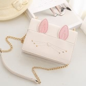 Cute Women Girls Cadeia Crossbody Bags PU couro Gato Rabbit Mini Small Shoulder Bag Bolsa Bege / Black