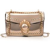 Elegante Frauen PU Umhängetasche Perlen Verstellbare Schultergurt Kette Umhängetaschen