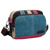 Nova Mulher Canvas Crossbody Bag Contraste Color Splice Zipper Correia ajustável Casual Ombro Bolsas Azul / Vermelho
