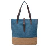 Mulheres Canvas Handbag Contraste emenda Zipper Multi-bolso Grande Capacidade Laptop Casual Bag Shoulder Tote Bag