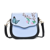 Girl Women Crossbody Bag Shoulder Bags Embroidery Color Block Elegant Small PU Leather Message Bag