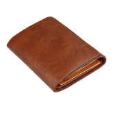 Moda homens dinheiro Clip carteira couro genuíno curto cartão titular com três dobras ímã Negócios Mini carteira café/Brown