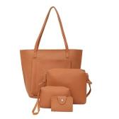 Conjunto de bolsas de mulher Bolsa de couro para homem Casual Bolsa de ombro Crossbody Pacote de cartão Conjunto de saco sólido composto