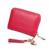 Suporte de cartão de couro genuíno para mulheres Mini Carteira de borla Pingente Bolsa de moedas para caixas de cartão de crédito