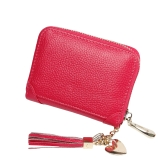 Titular de la tarjeta de crédito de cuero genuino de las mujeres Mini monedero de la borla de la cartera de la cremallera de la cartera de la cartera de las mujeres
