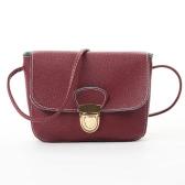 Las nuevas mujeres bolsos del mensajero de la PU de cuero Crossbody bolso de la aleta del cerrojo ocasionales sólidos pequeños bolsos de hombro de la vendimia