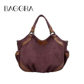 Women Canvas Crossbody Bag Handbag PU Leather Splicing Zipper Vintage Shoulder Tote Bag Blue/Brown/Burgundy