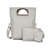 Mulheres Conjunto de bolsas de três peças Bolsa de ombro de couro PU Bolsa de embreagem Bolsa de cartão Zipper Casual Crossbody Bag