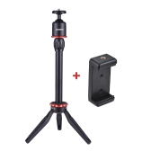 Mini Tabletop Video Trípode Stand Selfie Stick con Ball Head / Phone Clip