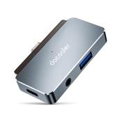docooler Концентратор 4-в-1 Type-C Тип-C - USB3.0 Концентратор HD Audio из алюминиевого сплава, совместимый с iPad Pro Type-C Phone Tablet Ноутбук