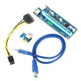 USB 3.0 PCI-E Cabo de extensão PCI Express 1X a 16X Extender Riser Mining Adaptador de cartão gráfico dedicado com cabo de alimentação SATA