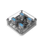 ORICO MH4U-U3-03-CR 4 ports USB3.0 HUB de bureau transparent LED bleue avec patin en caoutchouc anti-dérapant réservé Alimentation externe externe 30cm