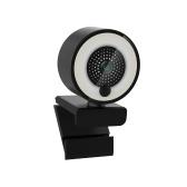 1080P HD Webcam com anel de preenchimento de luz autofoco integrado Webcam de microfone para vídeo / transmissão ao vivo / videoconferência tipo suave