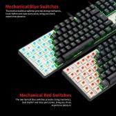 MOTOSPEED CK104 Mechanische Gaming-Tastatur mit USB-Kabel Bunte Gaming-Tastatur mit LED-Hintergrundbeleuchtung und 104 Tasten für portugiesische blaue Schalter
