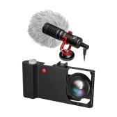 Aluminio Ally Smartphone Video Rig + gran angular macro lente + micrófono de escopeta de teléfono Sistema de adaptador de lente estabilizador de jaula de grabación de la cámara iPhone X 8 7 6s plus para Samsung Galaxy Huawei