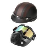 Маска Mortorcycle Съемные защитные очки и фильтр для рта + Открытый кожаный шлем с открытым козырьком с защитными очками Visor 54-60 см