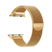 Replaceable Stainless Steel Watch Band Milanese Magnetic Buckle Strap Compatible with Apple Watch 2/3/4/5/6/se 42/44mm Gold