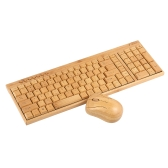 2.4G Wireless Bamboo PC Teclado e mouse Combo Teclado de computador Handcrafted Madeira natural Plug and Play Amarelo