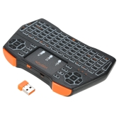 VIBOTON I8plus 2.4G Mini Teclado sem fio Teclado multimídia multimídia com Touchpad Mouse Controle Remoto Seven-color Marquees para Windows PC Android TV Box