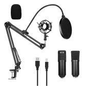 USB 192kHZ/24bit Podcast Recording Microphone Kit Professional Condenser Studio Broadcasting MIC with Stand Plug & Play For Gaming Chatting Speech