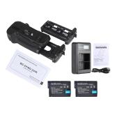 Pionowy uchwyt baterii Andoer BG-2X do aparatu Nikon D850 DSLR + 2 * Akumulator cyfrowy z pełnym zakodowaniem EN-EL15 + Wskaźnik naładowania baterii EN-EL15 EN-EL15 Wyświetlacz 2-kieszeniowy